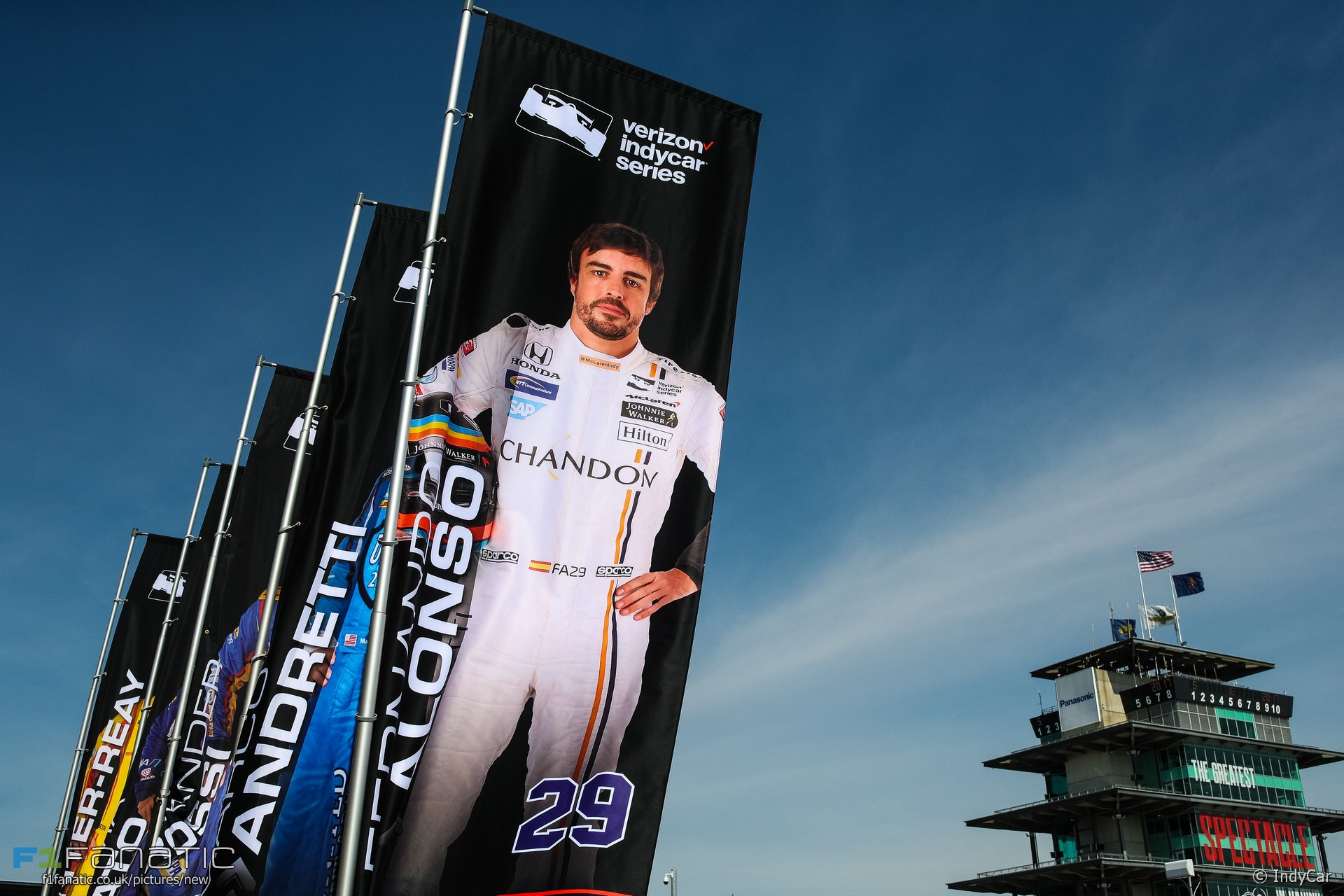 Fernando Alonso billboard, McLaren Andretti, IndyCar, Indianapolis Motor Speedway, 2017