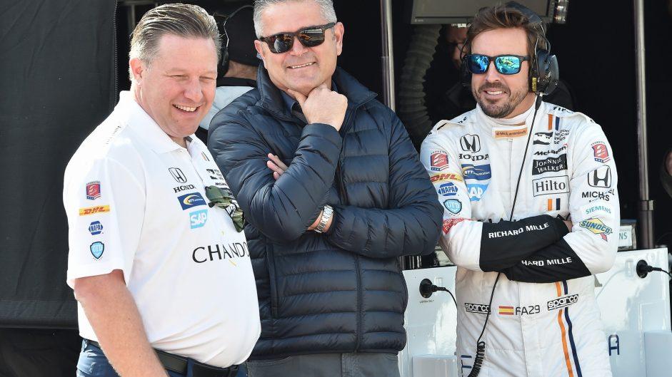Zak Brown, Gil de Ferran, Fernando Alonso, McLaren Honda Andretti, IndyCar, Indianapolis, 2017