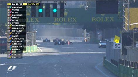 Lap 16 restart, Baku City Circuit, 2017