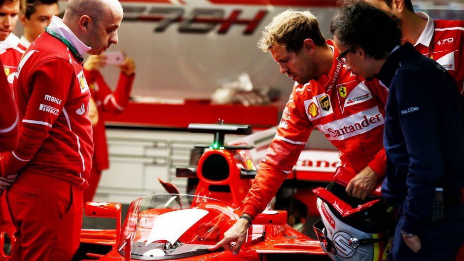 Sebastian Vettel inspects the Shield, Ferrari, Silverstone, 2017