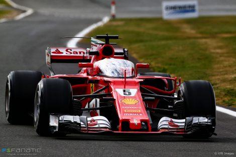 Sebastian Vettel tries the shield, Ferrari, Silverstone, 2017