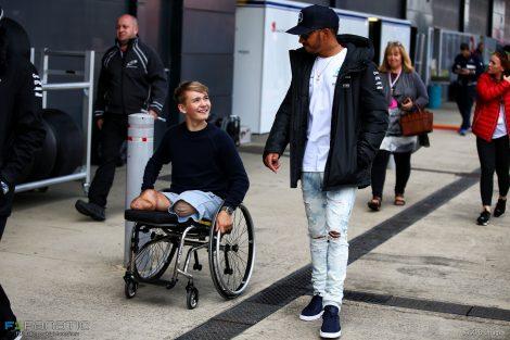 Billy Monger, Lewis Hamilton, Silverstone, 2017