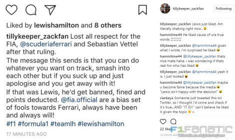 Instagram post on Sebastian Vettel liked by Lewis Hamilton