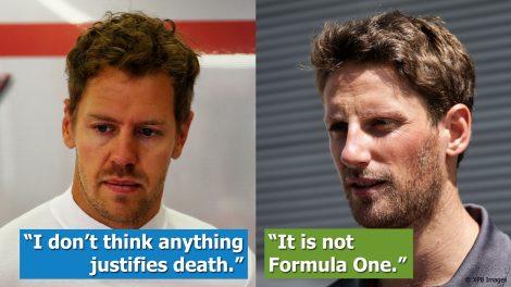 Vettel and Grosjean on the Halo