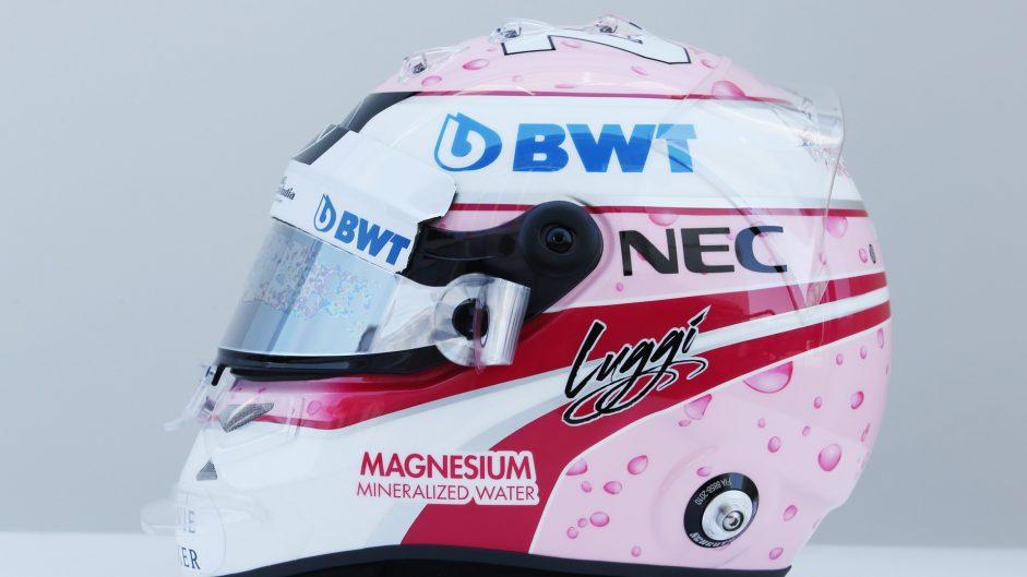 Lucas Auer's helmet, Force India, Hungaroring, 2017