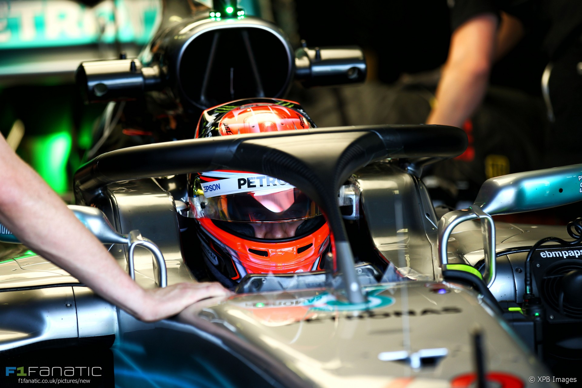 George Russell test the Halo, Mercedes, Hungaroring, 2017