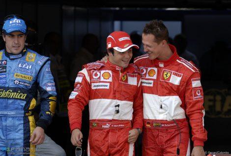 Fernando Alonso, Felipe Massa, Michael Schumacher, Magny-Cours, 2006