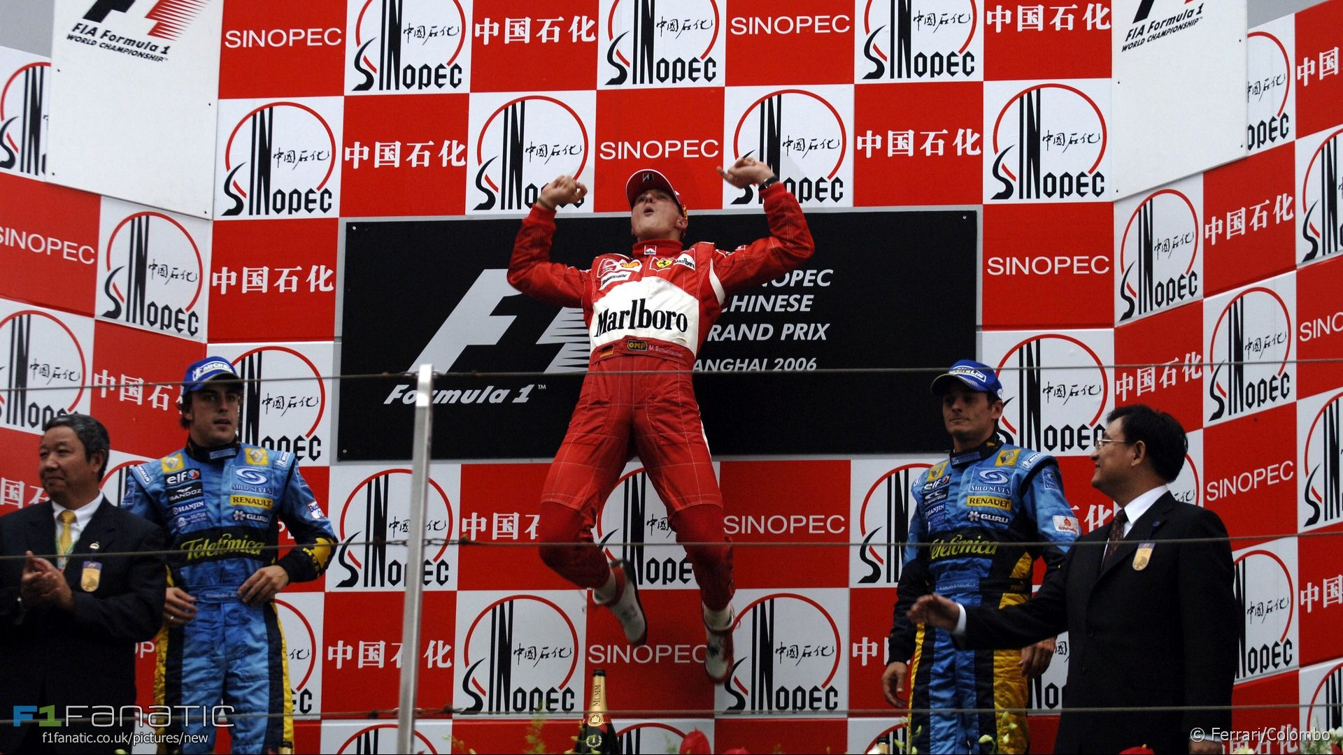 Fernando Alonso, Michael Schumacher, Giancarlo Fisichella, Shanghai, 2006