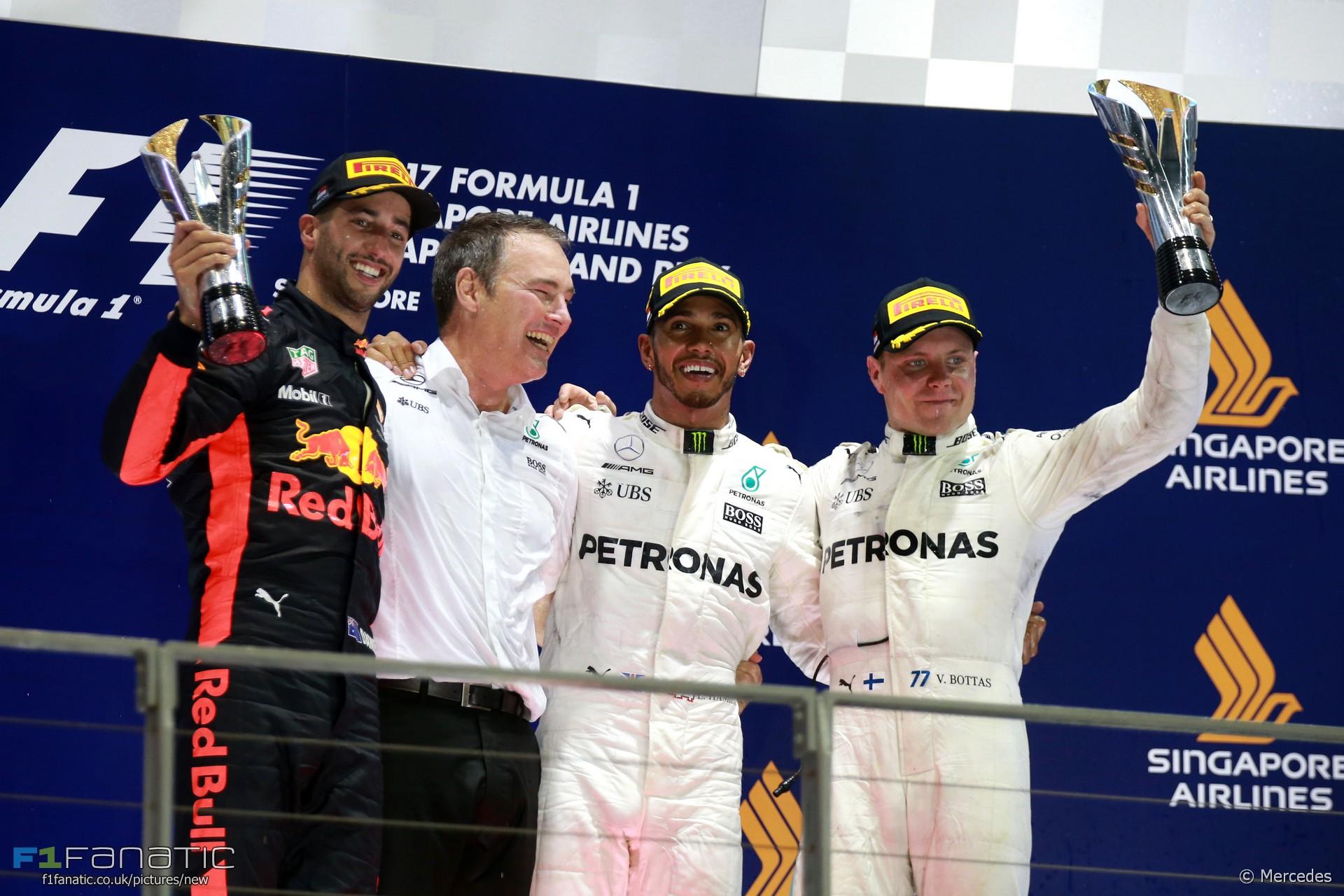 Daniel Ricciardo, Lewis Hamilton, Valtteri Bottas, Singapore, 2017