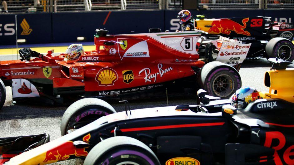Sebastian Vettel, Max Verstappen, Daniel Ricciardo, Singapore, 2017
