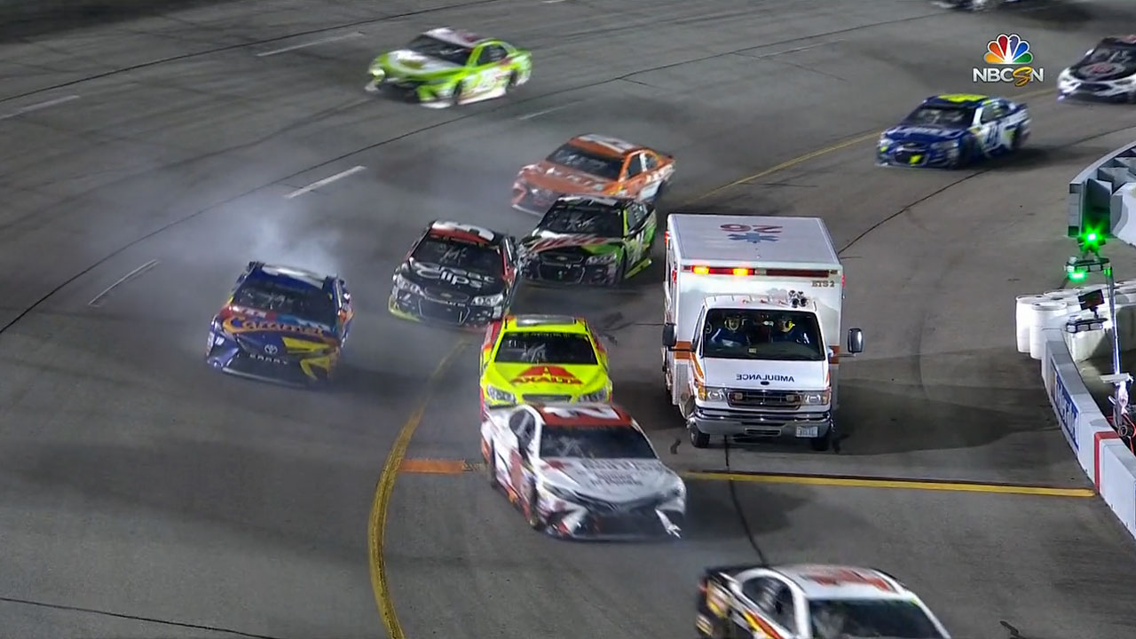 NASCAR ambulance incident screengrab