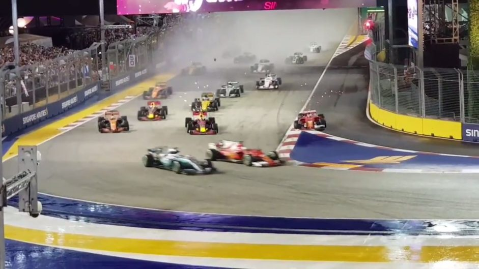 New videos show fans' views of Singapore start crash which claimed both Ferraris