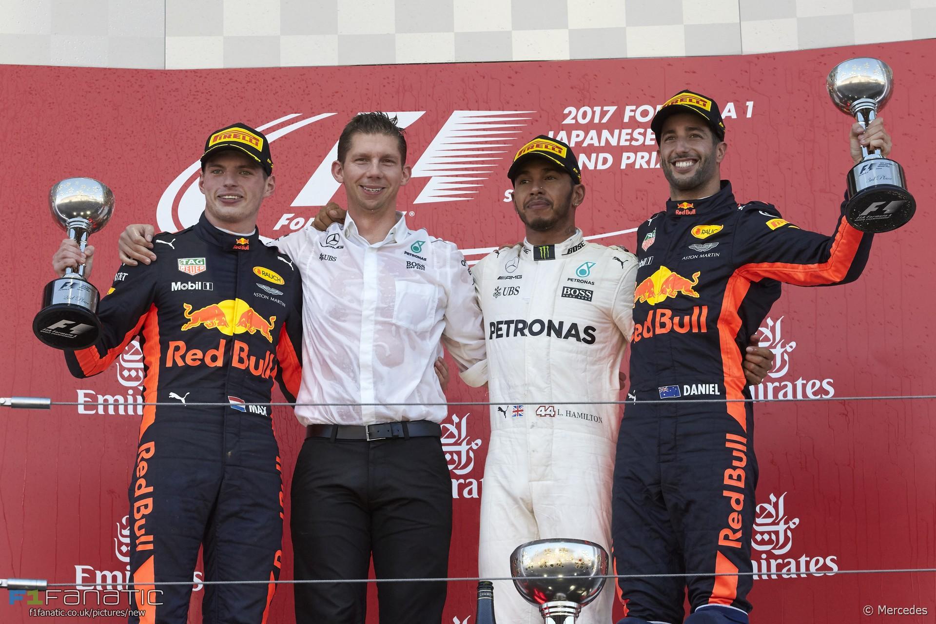 Max Verstappen, Lewis Hamilton, Daniel Ricciardo, Suzuka, 2017