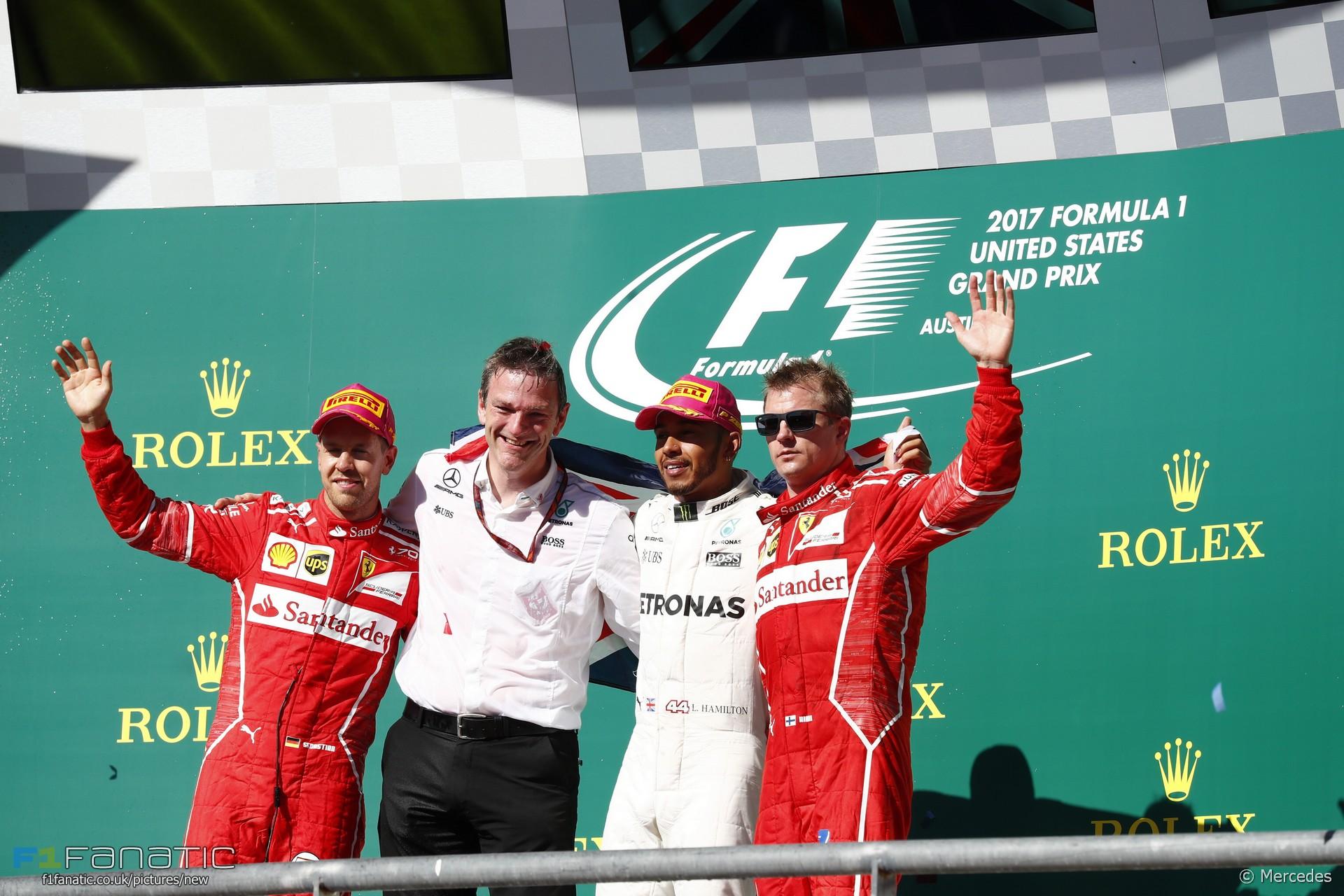 Sebastian Vettel, James Allison, Lewis Hamilton, Kimi Raikkonen, Circuit of the Americas, 2017