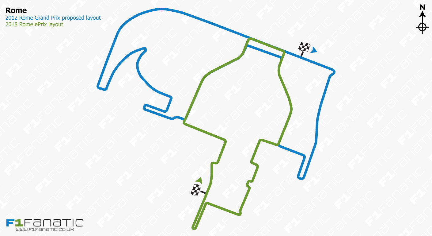 Unused 2012 Rome Grand Prix track plan and 2018 Rome ePrix circuit