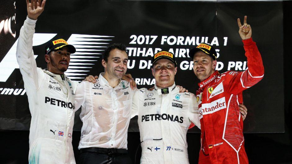 Lewis Hamilton, Valtteri Bottas, Sebastian Vettel, Yas Marina, 2017