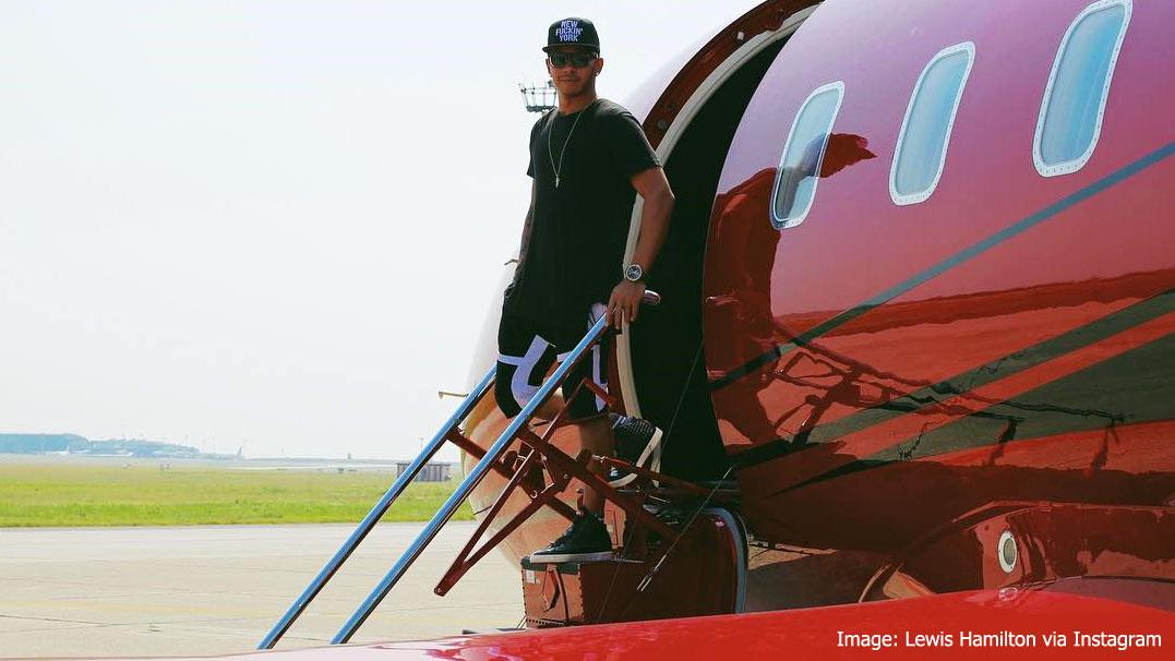 Lewis Hamilton on his Bombarbier jet