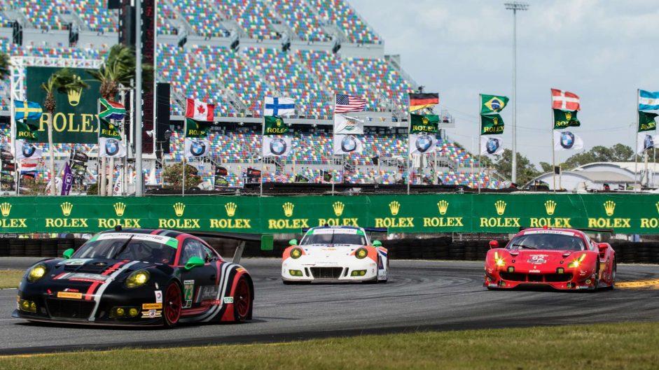 Park Place Motorsports Porsche 911 GT3 R, Risi Competizione Ferrari 488 GTE, Core Autosport Porsche 911 GT3 R, Daytona 24 Hours, 2018