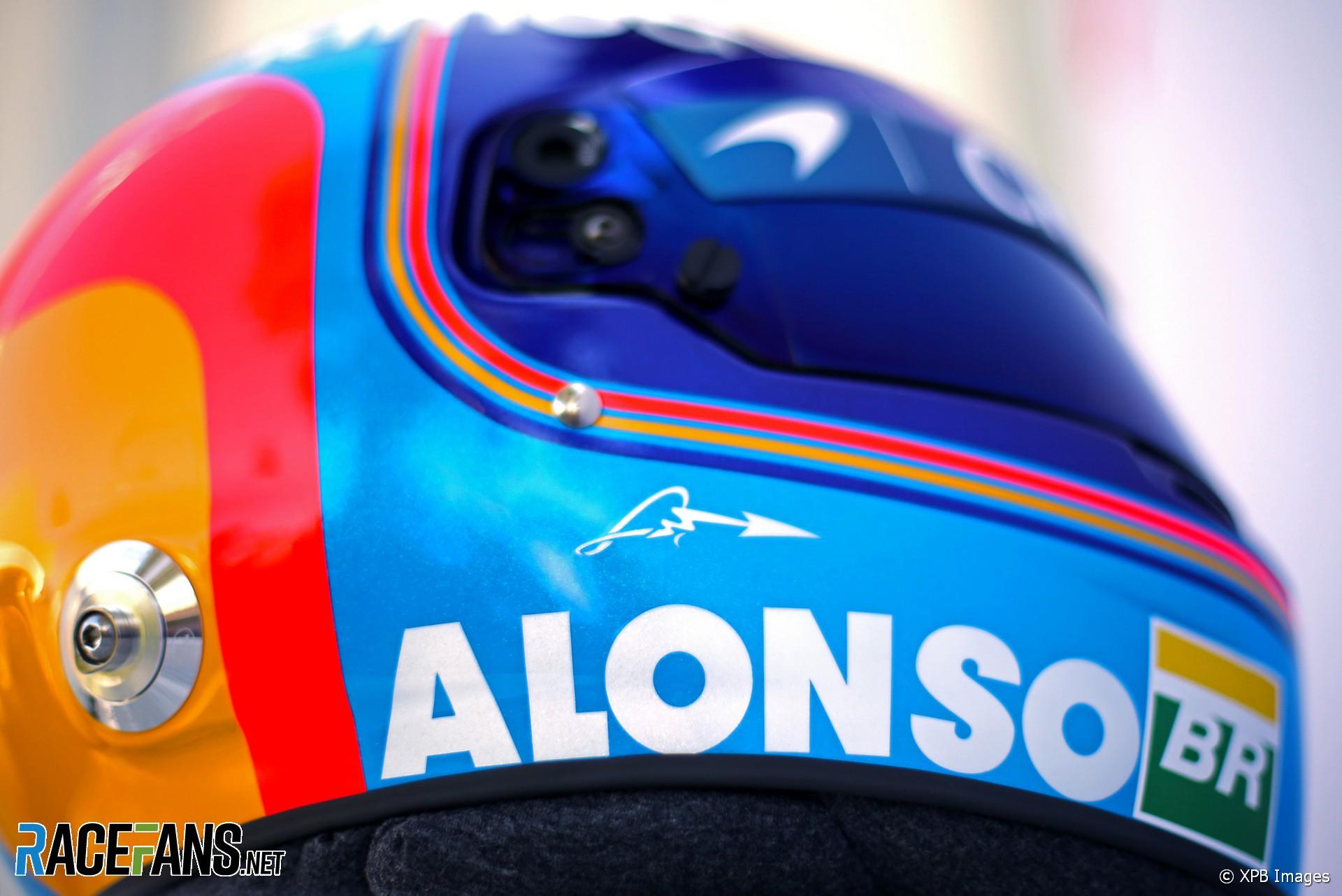 Fernando Alonso helmet, McLaren, Albert Park, 2018