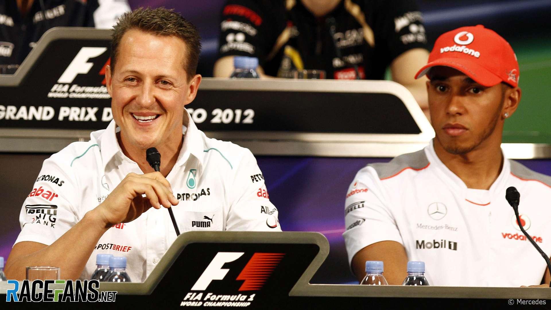 Michael Schumacher, Lewis Hamilton. Monaco, 2012