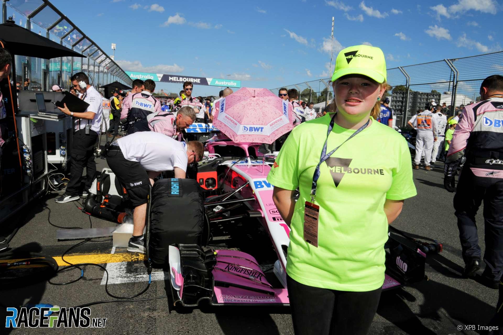 Sergio Perez's grid kid, Force India, Albert Park, 2018