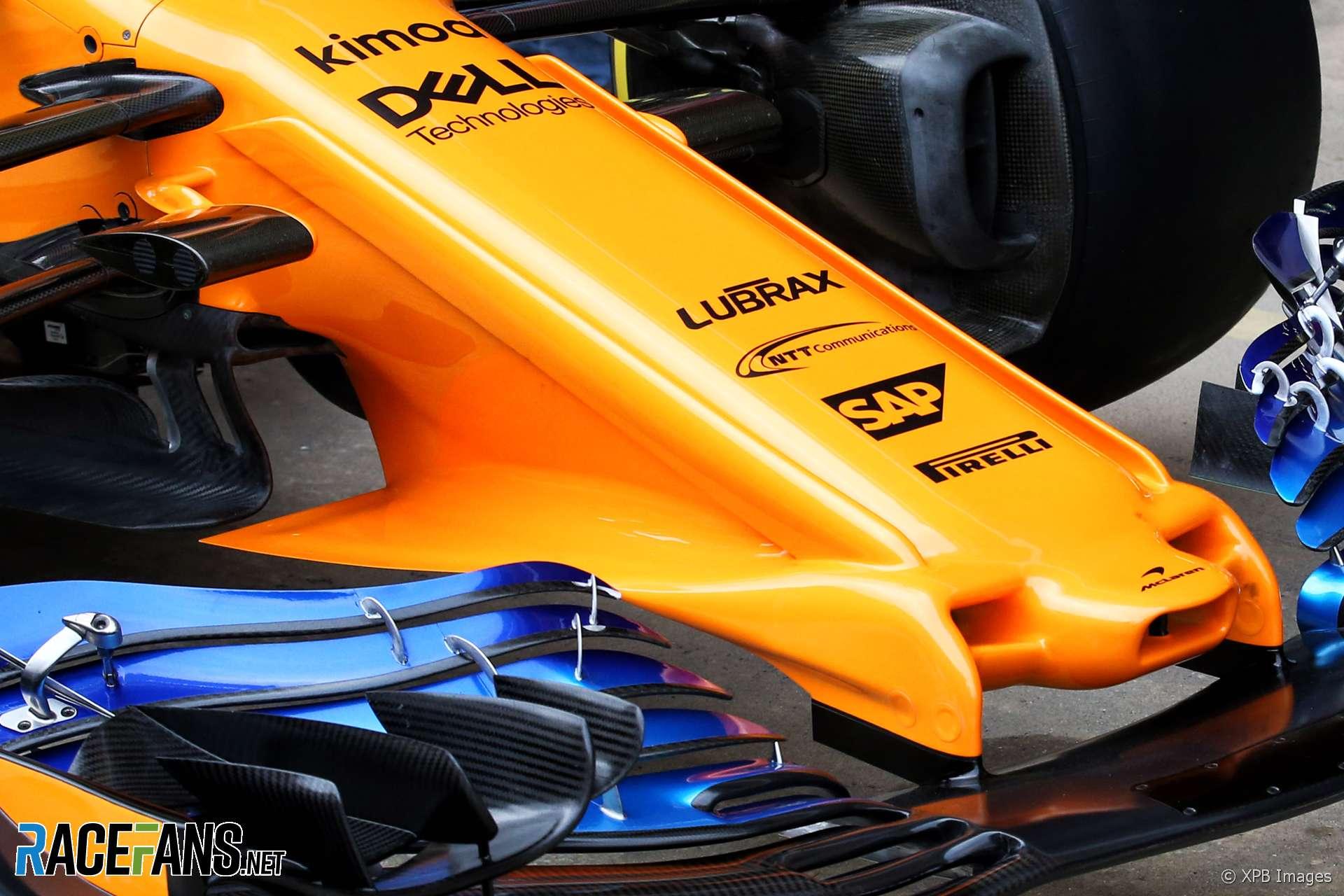 McLaren MCL33 nose and front wing, Circuit de Catalunya, 2018