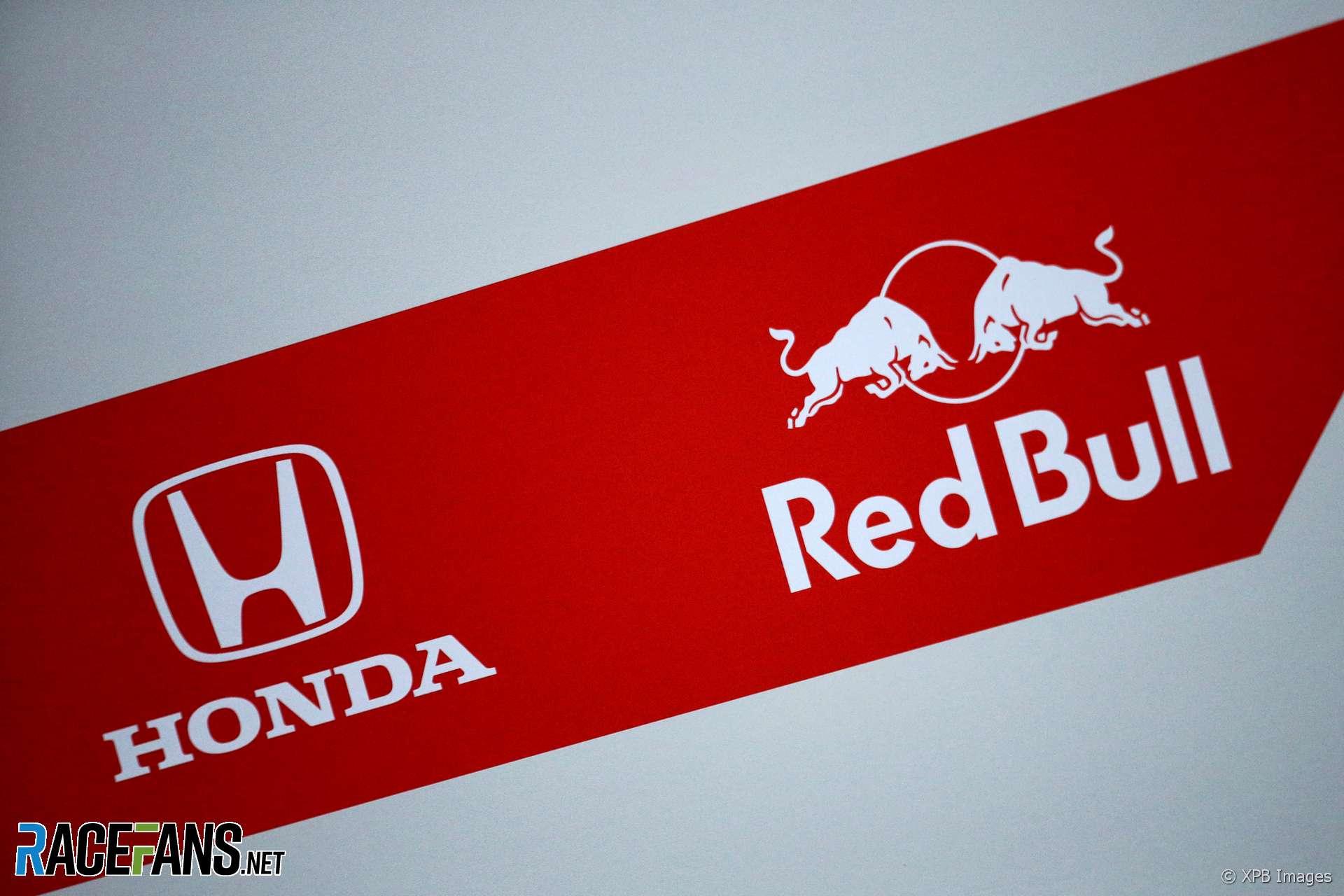 Honda and Red Bull logos, Circuit de Catalunya, 2018