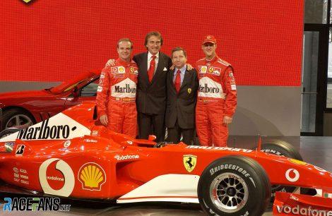Rubens Barrichello, Luca di Montezemolo, Jean Todt, Michael Schumacher, Ferrari F2002 launch, 2002