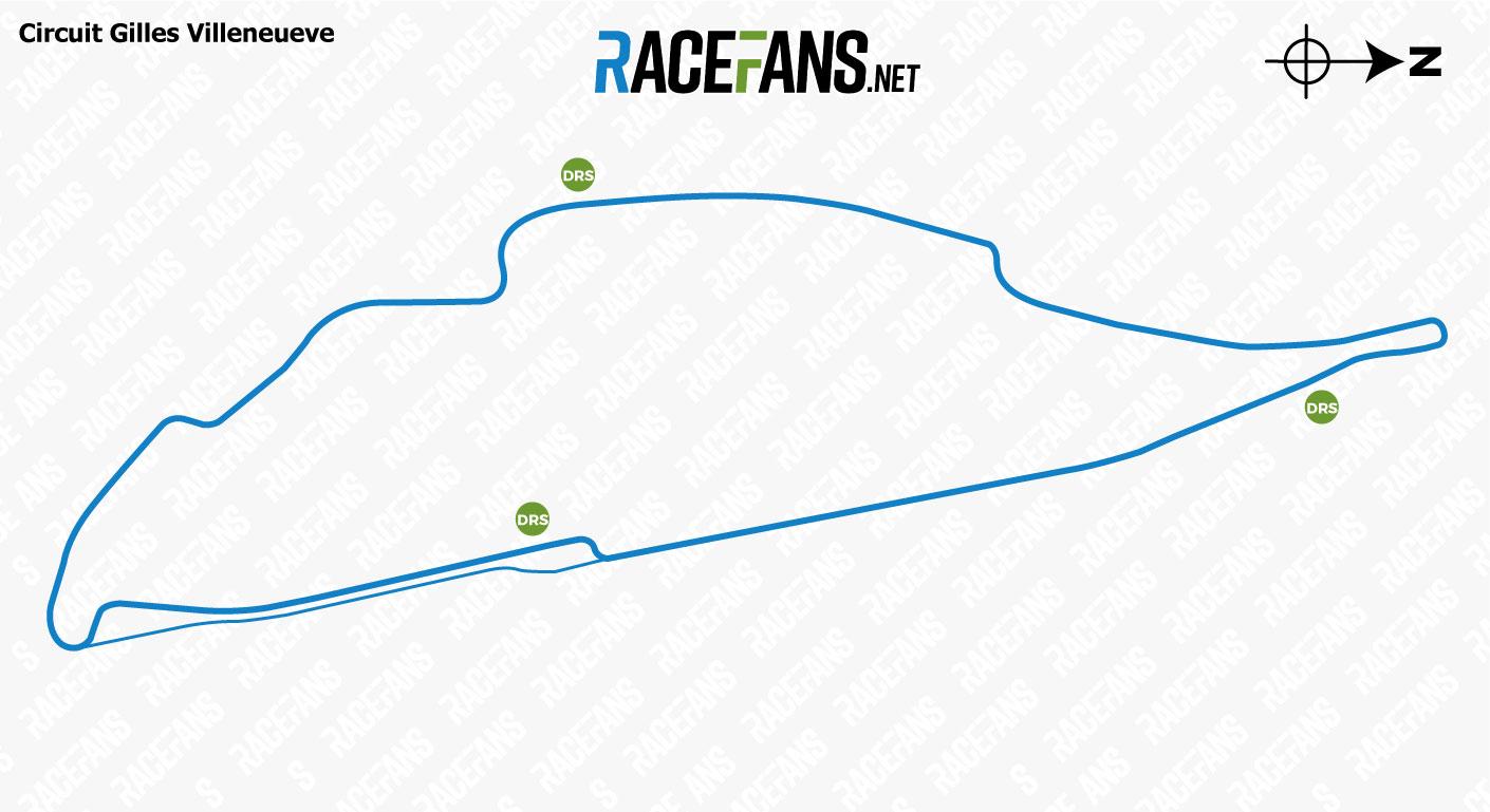 Circuit Gilles Villeneuve DRS zones, 2018