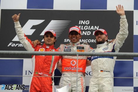 Felipe Massa, Lewis Hamilton. Nick Heidfeld, Spa-Francorchamps, 2008