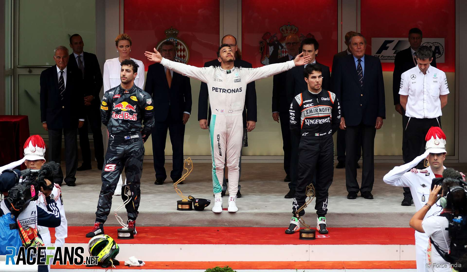 Lewis Hamilton, Daniel Ricciardo, Sergio Perez, Monaco, 2016