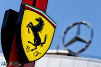 Ferrari and Mercedes logos, Hockenheimring, 2018