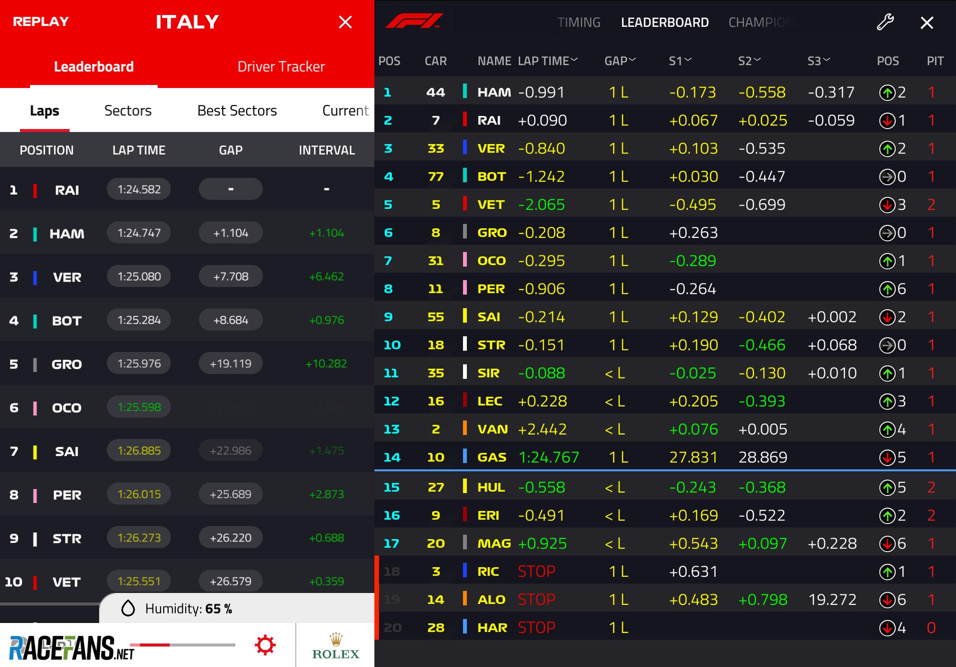F1 app version 11 and version 10