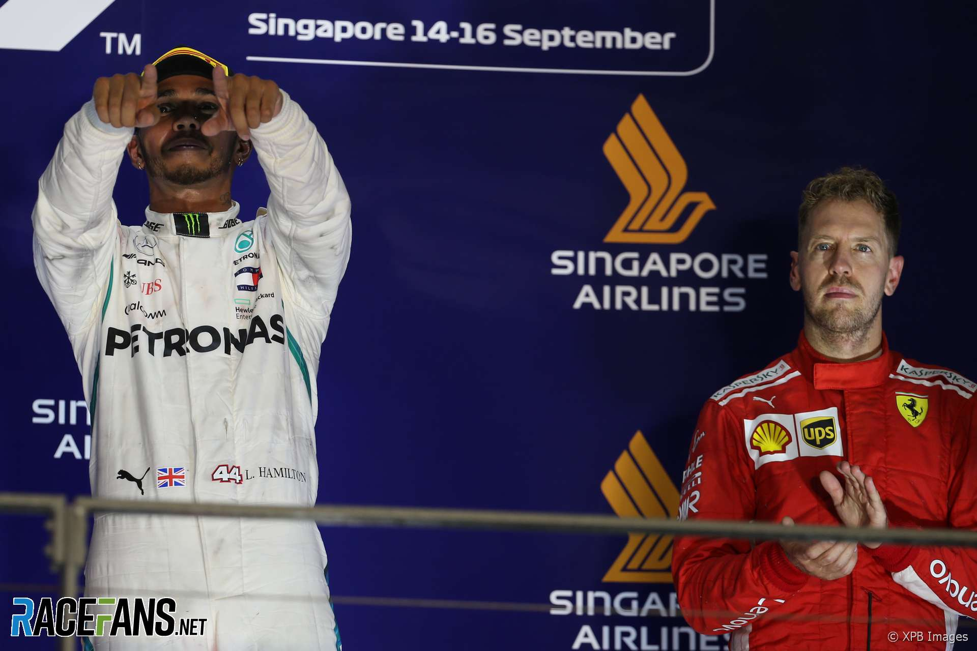 Lewis Hamilton, Sebastian Vettel, Singapore, 2018