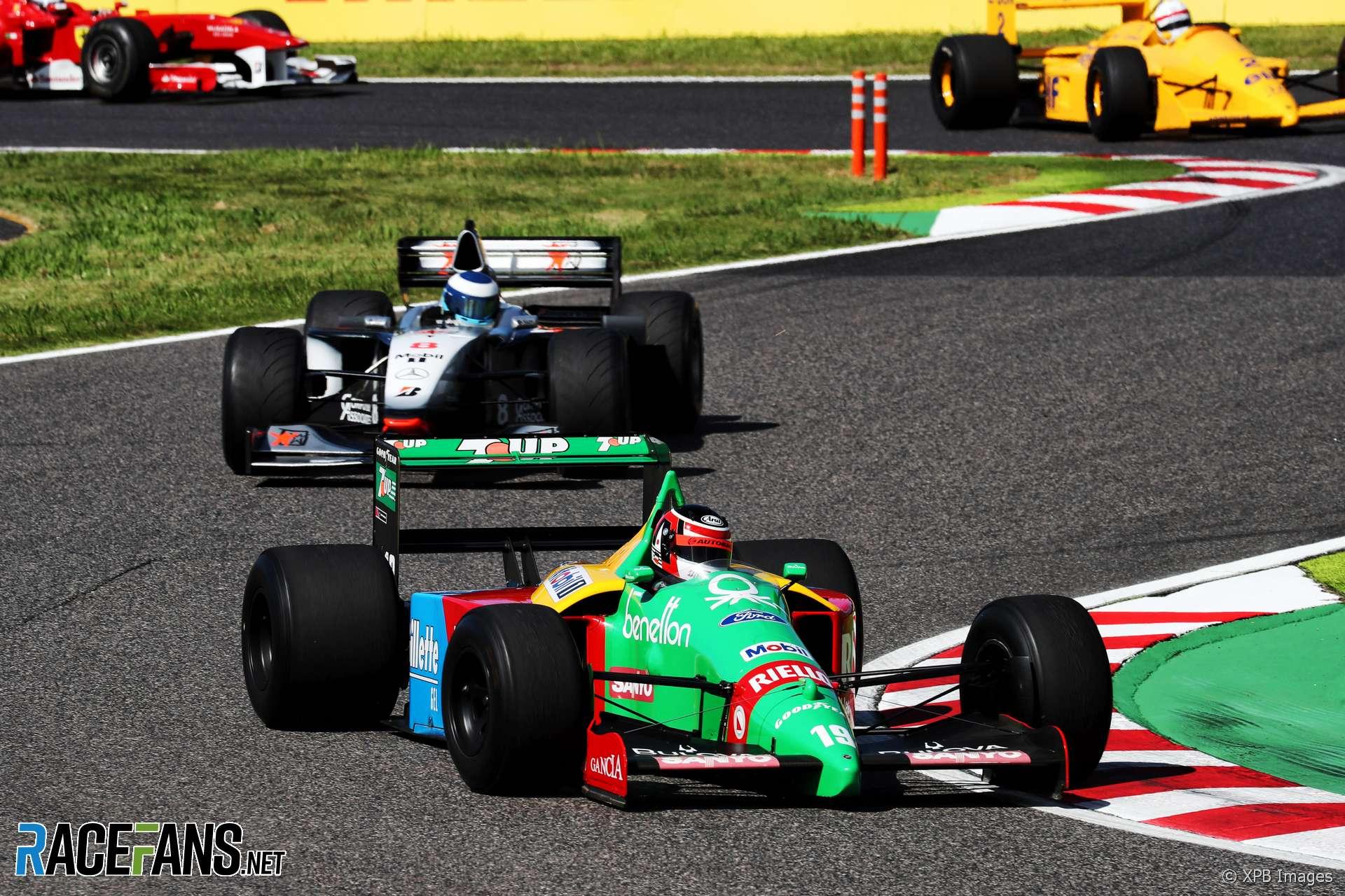 Aguri Suzuki, Benetton B189, classic F1 parade, Suzuka, 2018