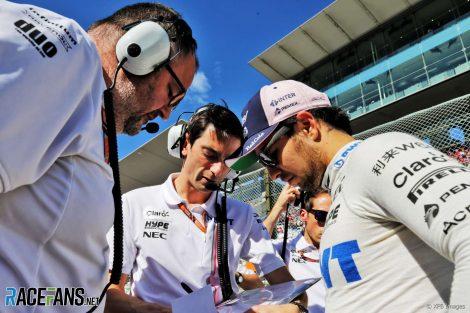 Tom McCullough, Tim Wright, Sergio Perez, Force India, Suzuka, 2018