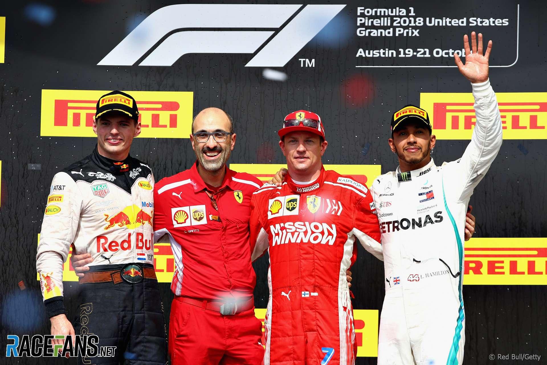 Max Verstappen, Kimi Raikkonen, Lewis Hamilton, Circuit of the Americas, 2018