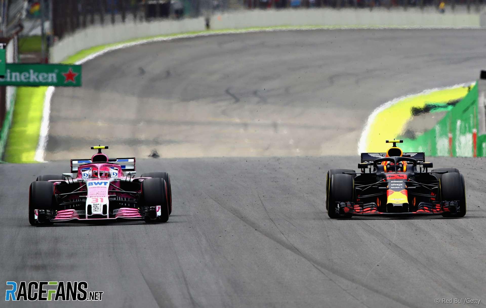 Esteban Ocon, Max Verstappen, Interlagos, 2018