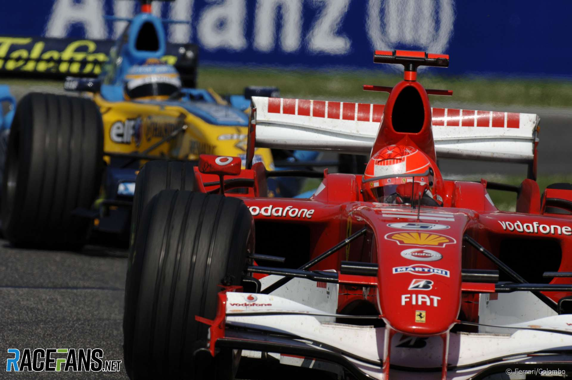 Michael Schumacher, Fernando Alonso. Imola, 2006