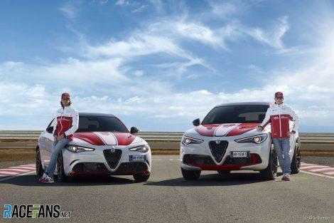 "Antonio Giovinazzi, Kimi Raikkonen, Alfa Romeo Giulia Quadrifoglio and Stelvio Quadrifoglio ""Alfa Romeo Racing"" special editions, 2019"