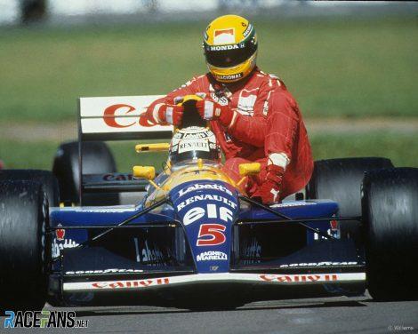 Ayrton Senna, Nigel Mansell, Silverstone, 1991