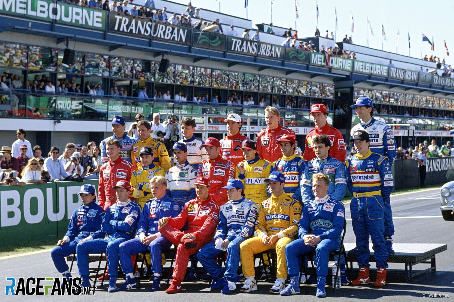 F1 drivers' group photographs, 1996-2019 · RaceFans