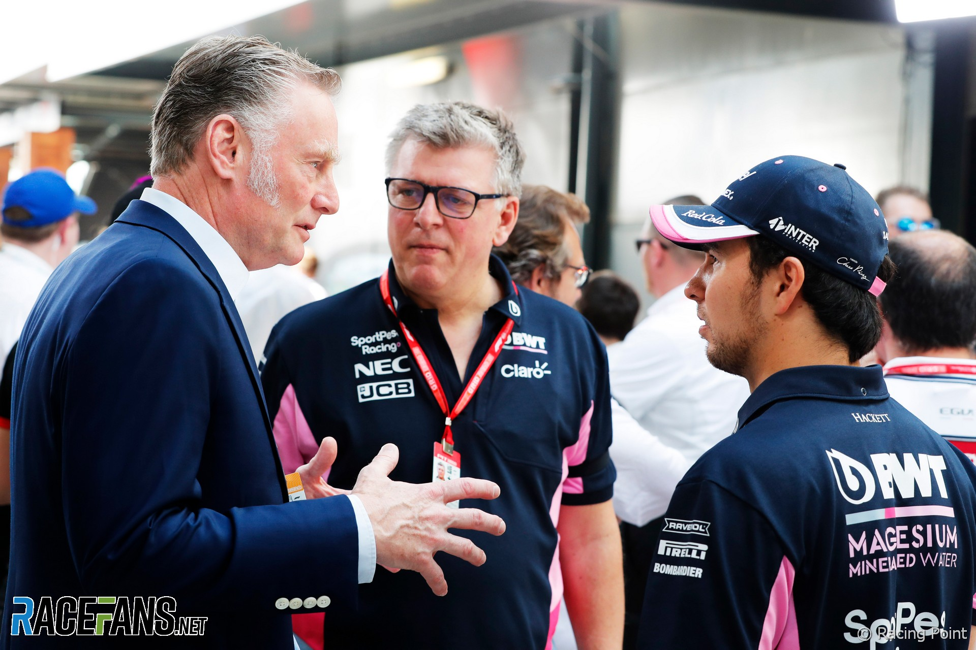 Sean Bratches, Otmar Szafnauer, Sergio Perez, Racing Point, Albert Park, 2019