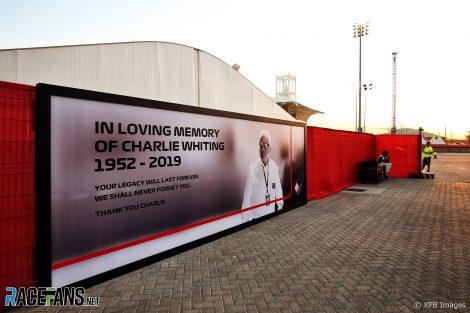 Charlie Whiting tribute, Bahrain International Circuit, 2019