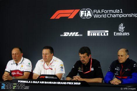 Frederic Vasseur, Zak Brown, Guenther Steiner, Franz Tost, Bahrain International Circuit, 2019
