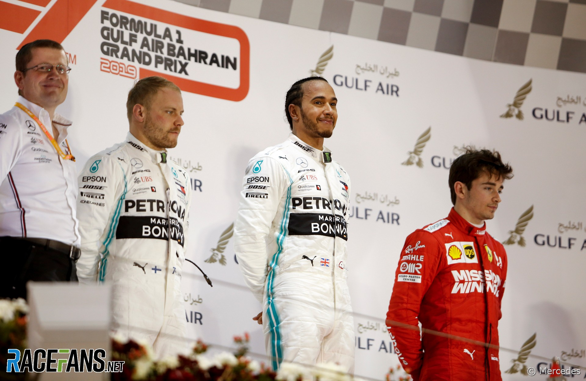 Valtteri Bottas, Lewis Hamilton, Charles Leclerc, Bahrain International Circuit, 2019
