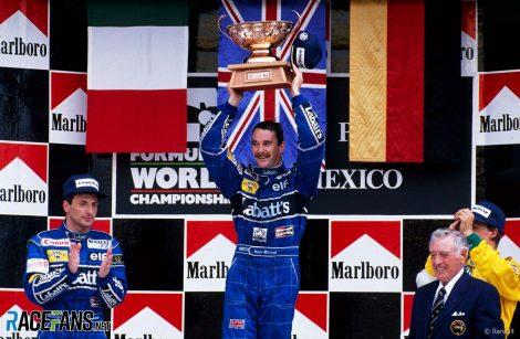 Riccardo Patrese, Nigel Mansell, Autodromo Hermanos Rodriguez, 1992