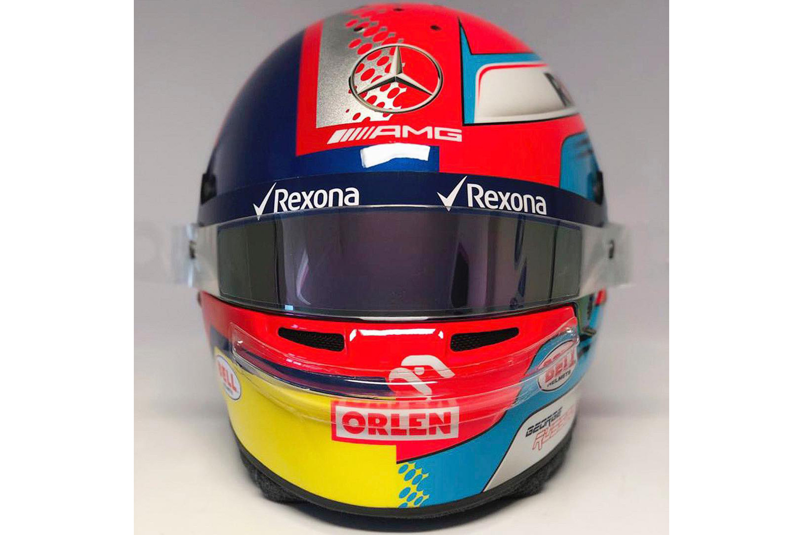F1 Russell Using Split Montoya Helmet Design For 1000th Race Racefans