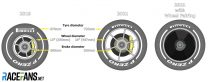 2019 and 2021 F1 wheel and brake sizes