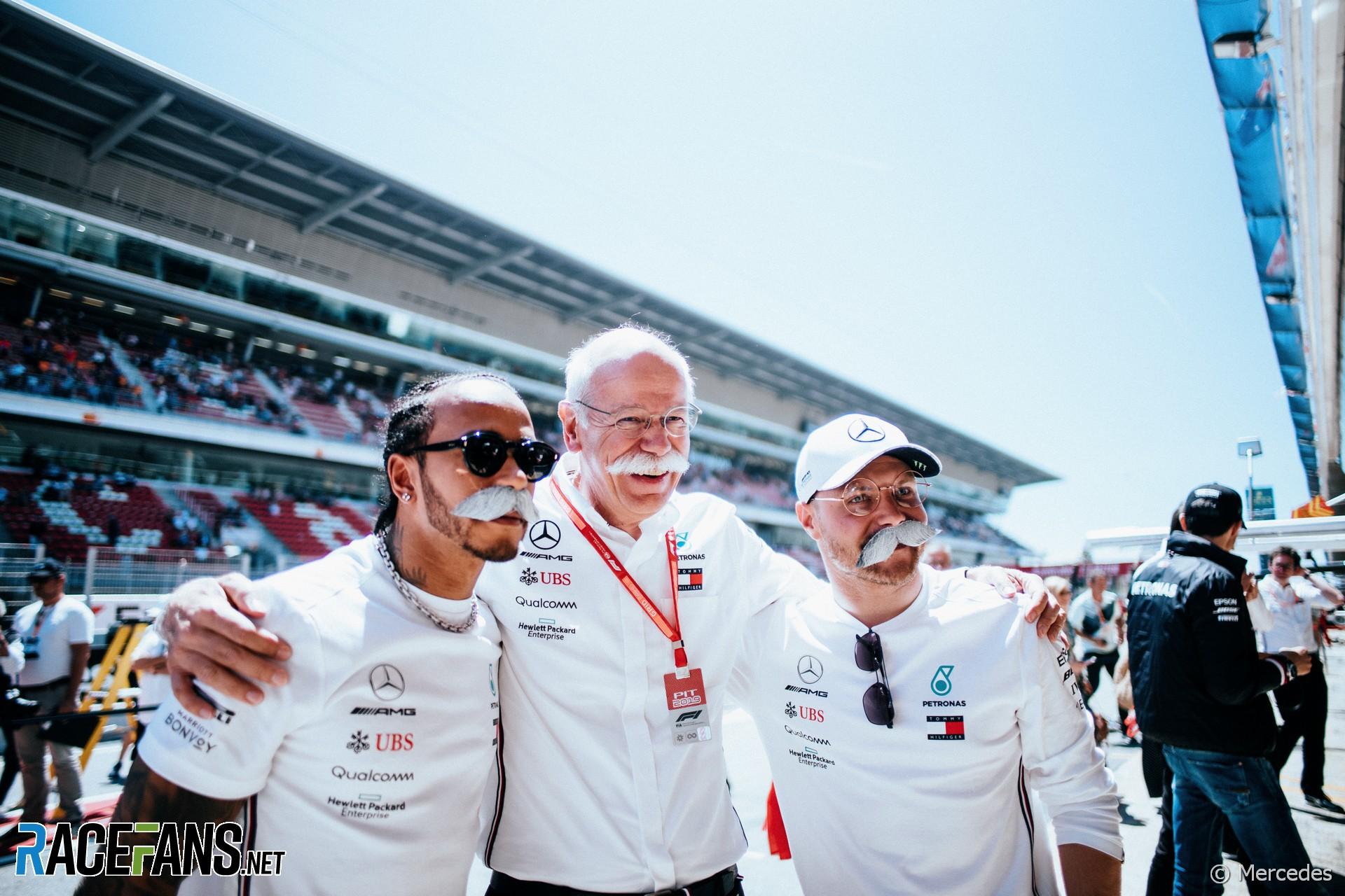 Lewis Hamilton, Dieter Zetsche, Valtteri Bottas, Circuit de Catalunya, 2019